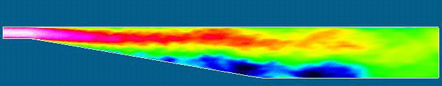 Color shades of the instantaneous streamwise velocity in Large Eddy Simulations of turbulent flow in plane diffuser. The simulations were performed by Massimiliano Fatica, Rajat Mittal, Hans Kaltenbach and Parviz Moin