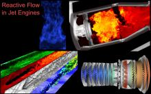 We compute turbulent combustion and reacting flows in complex engineering environments including scramjets, jet engines and pool fires.