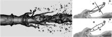 Breakup of a liquid jet into droplets showing the formation of ligaments (by D. Kim, 2010).