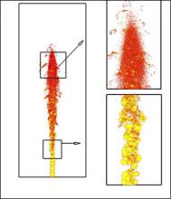 """A stochastic subgrid model for LES of atomizing spray is developed. The model is based on Kolmogorov's concept of viewing solid particle-breakup as a discrete random process. Atomization of liquid blobs at high relative liquid-to-gas velocity is considered in the framework of uncorrelated breakup events, independent of the initial droplet size. Kolmogorov's discrete model is rewritten in the form a Fokker- Planck equation for the pdf of droplet radii. See Apte, S.V., Gorokhovski, M., & Moin, P., """"LES of ato"""